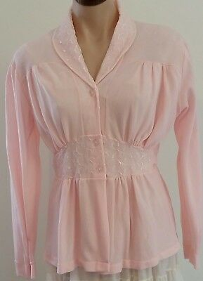 Vintage 50s EMSTRA Nylon Lace Baby PINK Hollywood Glam Winter BED JACKET size 10