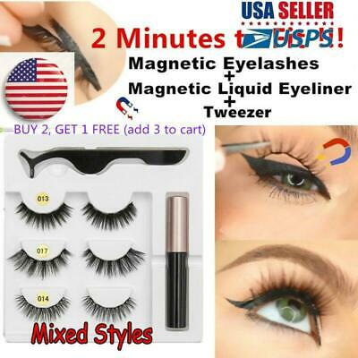 SKONHED 3 Pairs 5 Magnets Magnetic Eyelashes With Magnetic Eyeliner  and Tweezer