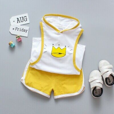 Summer New Style Fashion Baby Boy Crown Print Hooded Sleeveless Vest Shorts Sets