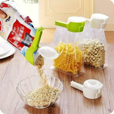 2 in 1 Seal Pour Bag Clip with Lid Food Snack Storage Saver Sealer Kitchen Tool