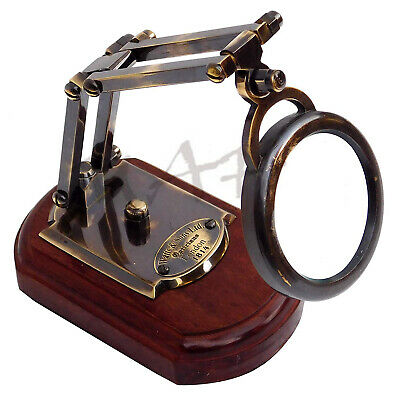 Nautical Brass Antique Magnifying Watts & Sons Ltd Magnifier with Wooden Base