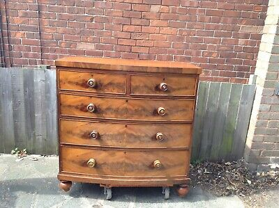 Antique Victorian flame mahogany bow front Chest of drawers unrestored