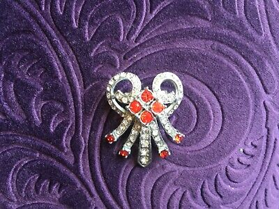 lovely Art deco vintage brooch in great condition with red and clear stones
