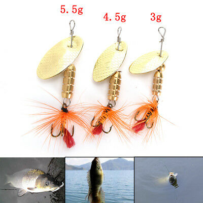 Fishing Lure Spoon Bait ideal for Bass Trout Perch pike rotating Fishing 2Y