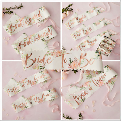 Team Bride To Be Hen Party Rose Gold Pink Floral Hen Party Night Sashes Wedding