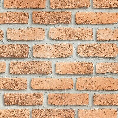 Stone Brick Wall Rustic Red Grey Grout Thick Textured Realistic Urban Wallpaper