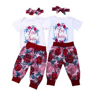 Big/Little Sister Matching Set Baby Girls Tops Romper Pants Costume Clothes