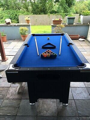 Charles Bentley Kids Junior 4Ft Blue Pool Games Table With Spots /& Stripes Pool Balls /& 2 Cues Indoor INCLUDES ALL ACCESSORIES