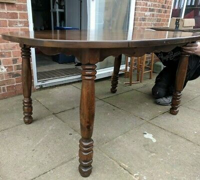 Solid Oak Large Antique Extending D End Dining Table. Victorian Turned Legs