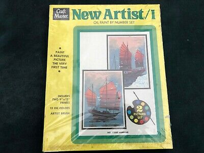 Vintage Paint By Number Craft Master Sampans Wooden Boats 1972 New in Box