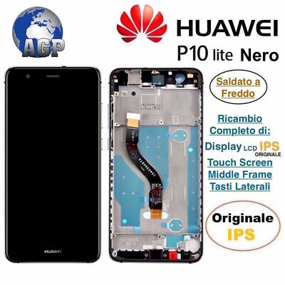 Display LCD e Touch Screen Middle Frame HUAWEI P10 Lite WAS-LX1A Nero Originale