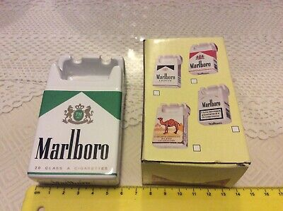 Collectable Marlboro green ceramic ashtray shaped as a cigarette pack