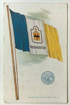 1911 NY Postcard Rochester New York large color flag city seal Christy Eng. Co.