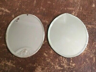 "Pair antique vintage 5"" small Oval foxed Edge mirror plate plateau bevelled edge"