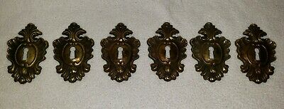 Lot of 6 Vintage ORNATE Brass Escutcheons Key Hole Lock Cover Furniture Hardware