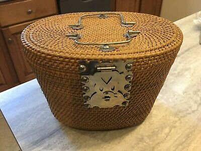 Old Asian Teapot Basket Tight Woven Chinese Basket