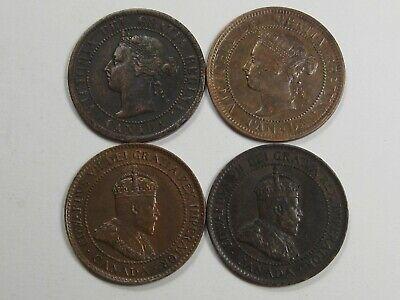 4 VF+/XF Canada Large Cents. 1893, 1900, 1902, 1904.  #39