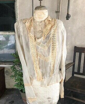 Antique Edwardian Pearly White Silk Bodice Ecru Lace Embroidery Bridal Vintage