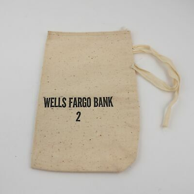 BLACK WELLS Fargo Black Bank Money Zipper Deposit Logo Bag - $12 75
