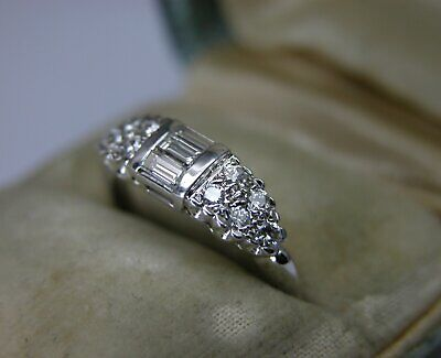 Antique Art Deco 14K Gold Diamond  Wedding Band Stacking Ring