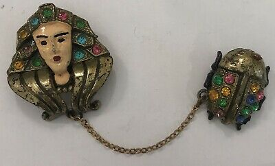 Vintage Egyptian Revival Cleopatra and Scarab Enamel Rhinestone Chatelain Pin