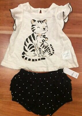NWT OLD NAVY Girls 12-18 Months Black Cream Kitten 2 Piece Summer Outfit