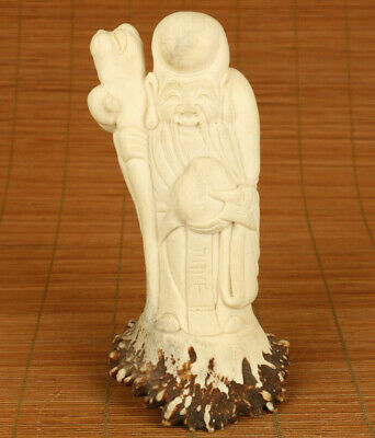 Antiques old hand carved god of longevity statue figure table decoration gift