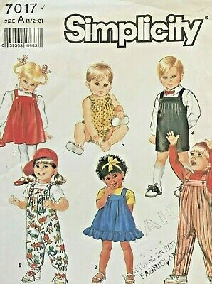 Simplicity Toddlers' Overalls,Sundress,Jumper Pattern 7017 Size 1/2-3 UNCUT