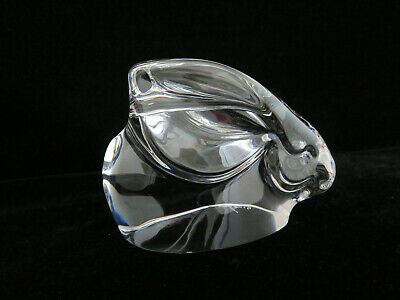 Signed Orrefors Sweden Clear Crystal Bunny Rabbit Figurine Paperweight