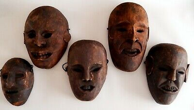 Collection Old Shaman Tribal Masks Carved Wood Nepal Tibet