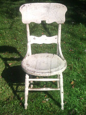 Antique/Vintage Oak Chair - Painted White Circle Seat - Needs Work/Refinished