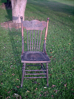 Antique/Vintage Oak Chair w/Riveted Leather Seat (Needs Work, Repair, Refinish)