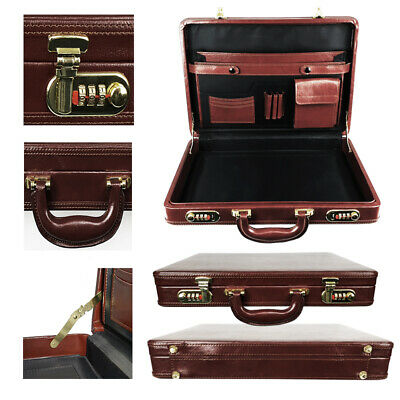 Mens BROWN Executive Briefcase Attaché Travel PU Leather With Combination Locks