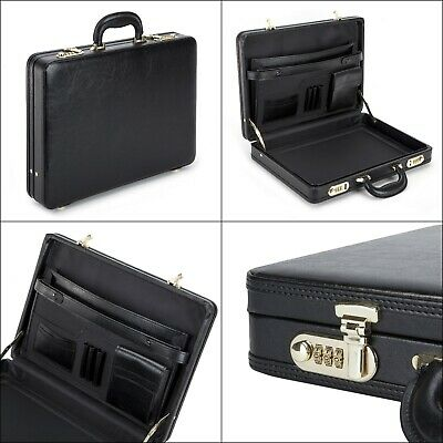 Mens BLACK Executive Briefcase Attaché Travel PU Leather With Combination Locks