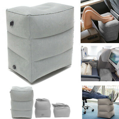 Gray Inflatable Foot Rest Travel Air Pillow Cushion Office Leg Up Footrest Relax
