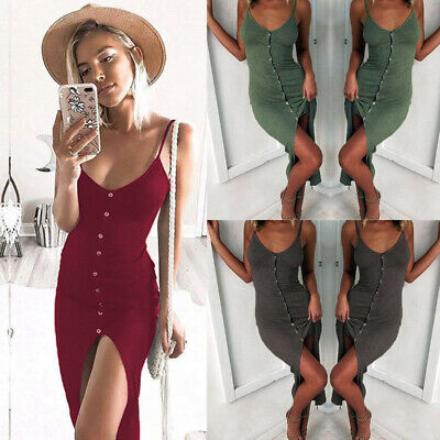 Women Holiday V Neck Bodycon Front Split Ladies Party Summer Beach Midi Dress