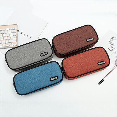 Double Layer Student Back To School Pencil Pen Case Cosmetic Makeup Pouch Bags