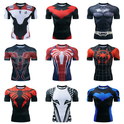 Superhero Spiderman Compression T-Shirt Men Sports Layer Fitness Gym Muscle Tops