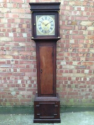 18th CENTURY BRASS DIAL OAK GRANDFATHER LONG CASE CLOCK BY THO FORDHAM