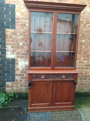 Antique Early Victorian Mahogany Two Door Glazed Circa 1860