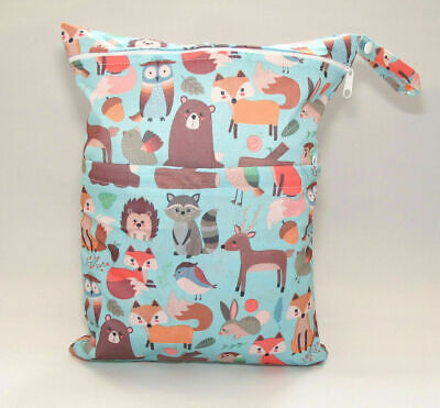 Large Cloth Mama Wet Bag for Nappies, Wipes, Cloth Sanitary Pads - Forest Design
