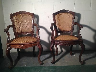 A RARE PAIR OF ANGELO PORTUGUESE CARVED ARM CHAIRS 19th