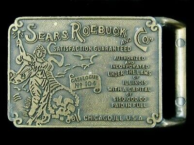 SE07149 *NOS* VINTAGE 1970s **SEARS ROEBUCK AND CO.** ADVERTISEMENT BELT BUCKLE
