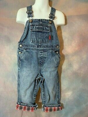 GYMBOREE Boys Red Plaid Cuff Lined Denim Jean Fire Chief Overalls 24 Months
