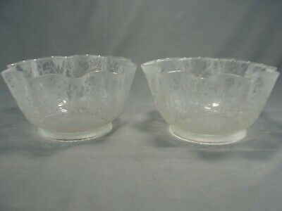 "2 Matching Antique Satin Etched Glass Oil Gas Lamp Light Shades 4 3/4"" Fitter"