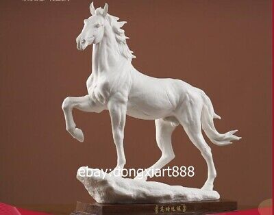 41 cm White Glaze dehua Porcelain Pottery Chinese Zodiac Animal Horse sculpture