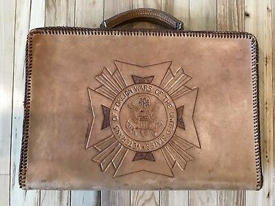 Veterans Of Foreign Wars Of The United States RHW Tooled Leather Briefcase Rare