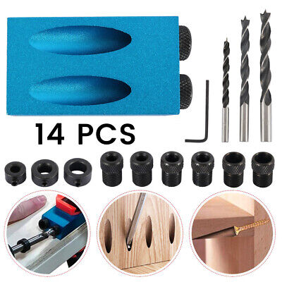 14pcs Pocket Hole Jig Kit Woodworking Guide Oblique Drill Angle Hole Locator