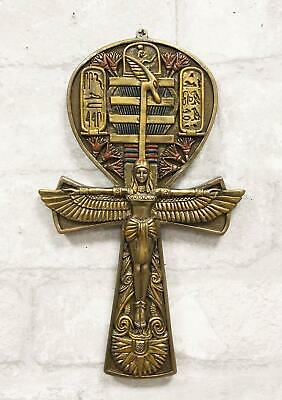"""Pacific Giftware Egyptian Ankh Symbol Winged ISIS Cast Bronze Resin Decor 6""""H"""