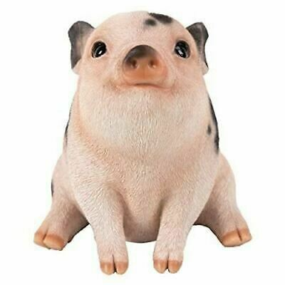 """Pacific Giftware Resin Statue Farm Baby Pig Piglet Sitting Home Decor Statue 6""""H"""